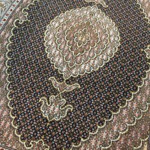 فرش دستبافت قالیچه تبریز طرح ماهی مرینوس سرمه ای